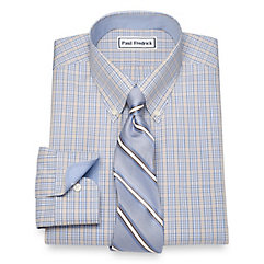 1930s Style Mens Shirts Non-Iron Cotton Glen Plaid Dress Shirt $90.00 AT vintagedancer.com