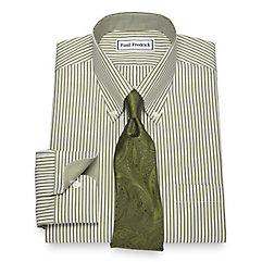Men's Vintage Style Shirts Non-Iron Cotton Bengal Stripe Dress Shirt $90.00 AT vintagedancer.com
