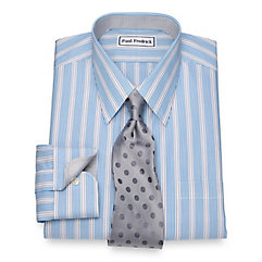 1930s Style Mens Shirts Non-Iron Cotton Alternating Stripe Dress Shirt $90.00 AT vintagedancer.com