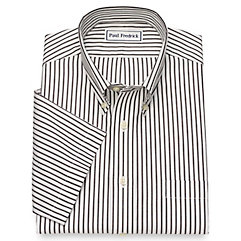 1930s Style Mens Shirts Non-Iron Cotton Stripe Short Sleeve Dress Shirt $80.00 AT vintagedancer.com