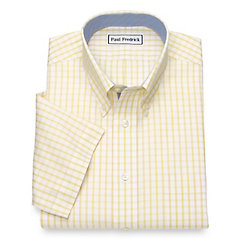 1930s Style Mens Shirts Non-Iron Cotton Windowpane Short Sleeve Dress Shirt $80.00 AT vintagedancer.com