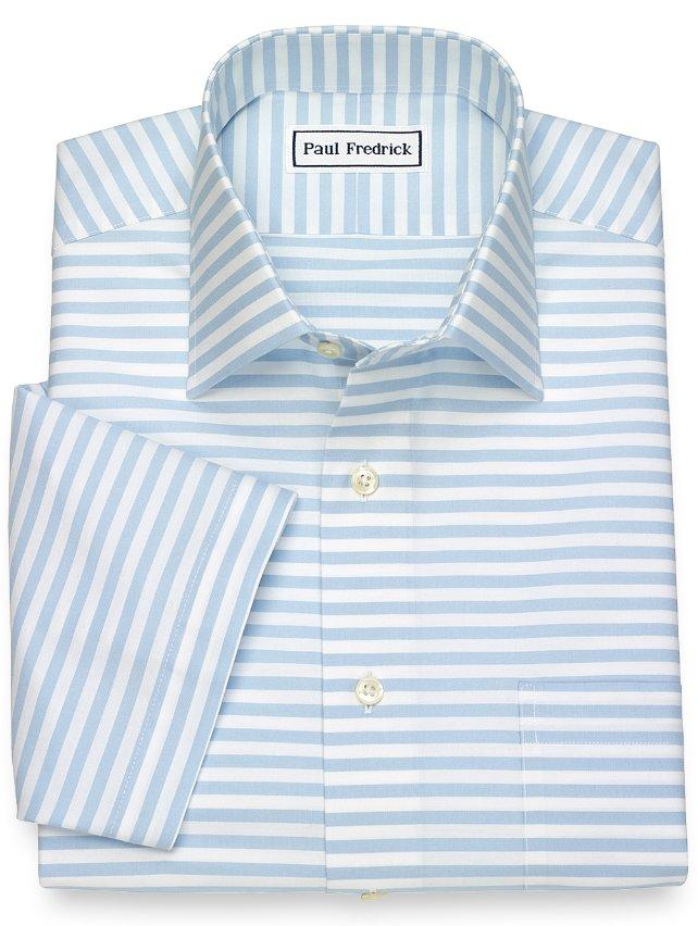 Slim fit non iron cotton horizontal stripe short sleeve for Horizontal striped dress shirts men
