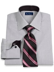 2-Ply Cotton Mini Check Windsor Collar Dress Shirt