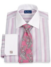2-ply Cotton Stripe Spread Collar French Cuff Dress Shirt