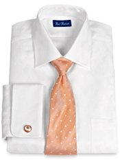 2-Ply Cotton Basketweave Windsor Collar French Cuff Dress Shirt