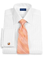 2-Ply Cotton Satin Stripe French Cuff Trim Fit Dress Shirt