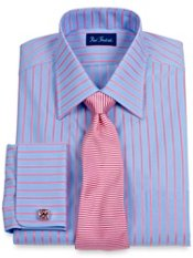 Luxury Cotton Satin Stripe Spread Collar French Cuff Trim Fit Dress Shirt