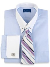 Luxury Cottn Herringbone Eyelet Collar French Cuff Dress Shirt