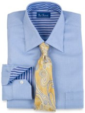 2-Ply Cotton Herringbone Spread Collar Dress Shirt