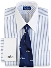 2-Ply Cotton Herringbone Stripe French Cuff Trim Fit Dress Shirt