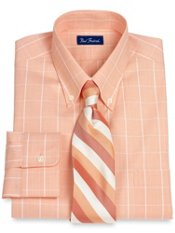 Pinpoint Oxford Plaid Button Down Collar Trim Fit Dress Shirt