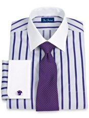 2-Ply Stripe Windsor Collar French Cuff Trim Fit Dress Shirt