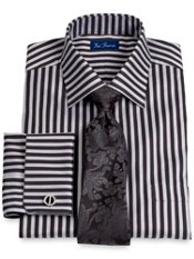 2-Ply Cotton Stripe Windsor Collar French Cuff Trim Fit Dress Shirt