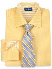 2-Ply Satin Check Spread Collar Trim Fit Dress Shirt