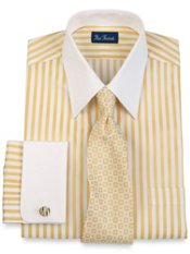 2-Ply Satin Stripe Straight Collar French Cuff Dress Shirt