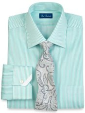 2-Ply Cotton Satin Stripe Windsor Trim Fit Collar Dress Shirt