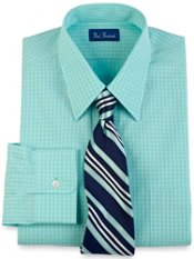 2-Ply Cotton Satin Check Straight Collar Trim Fit Dress Shirt