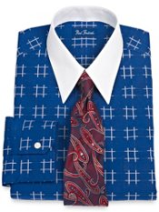2-Ply Cotton Grid Pattern Straight Collar Trim Fit Dress Shirt