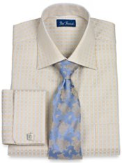 2-Ply Cotton Satin Check Spread Collar French Cuff Dress Shirt