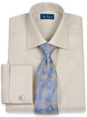 2-Ply Cotton Satin Check French Cuff Trim Fit Dress Shirt