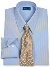 2-Ply Cotton Satin Stripe Straight Collar Trim Fit Dress Shirt