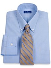 2-Ply Cotton Satin Check Button Down Collar Dress Shirt