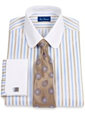2-Ply Cotton Satin Stripe Club Collar French Cuff Trim Fit Dress Shirt