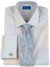 2-Ply Cotton Stripe Windsor Collar French Cuff Dress Shirt
