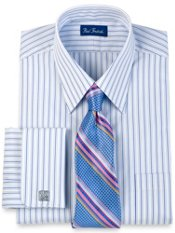 100% Cotton Tread Stripe Straight Collar French Cuff Dress Shirt