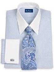 100% Cotton Shadow Stripe Straight Collar French Cuff Dress Shirt