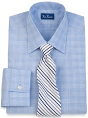 100% Cotton Glen Plaid Spread Collar Trim Fit Dress Shirt
