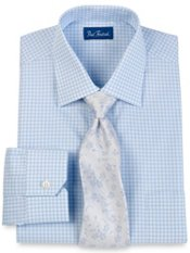 100% Cotton Gingham Windsor Collar Trim Fit Dress Shirt