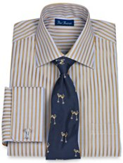 Italian Cotton Satin Stripe French Cuff Trim Fit Dress Shirt