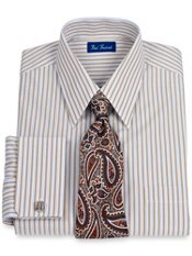 Italian Cotton Tread Stripe French Cuff Trim Fit Dress Shirt