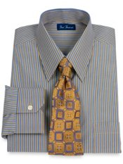 Italian Cotton Stripe Straight Collar Dress Shirt