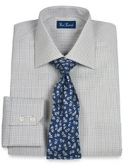 Italian Cotton Check Spread Collar Trim Fit Dress Shirt