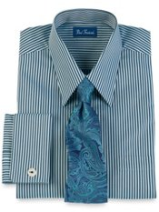 Italian Cotton Stripe Straight Collar French Cuff Trim Fit Dress Shirt