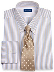 Pinpoint Oxford Twin Stripe Button Down Collar Dress Shirt