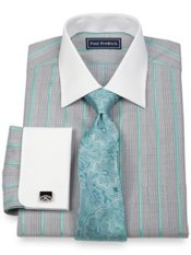 2-Ply Cotton Glen Plaid Spread Collar French Cuff Dress Shirt