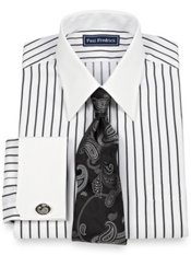 2-Ply Cotton Textured Stripe Straight Collar French Cuff Dress Shirt