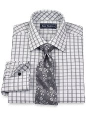 2-Ply Cotton Textured Grid Spread Collar Dress Shirt