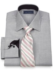 2-Ply Cotton Mini Satin Check Spread Collar Dress Shirt