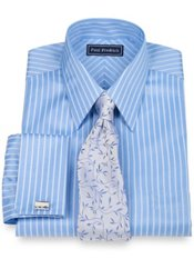 2-Ply Cotton Satin Stripe Straight Collar French Cuff Dress Shirt