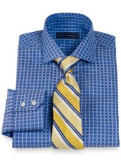 2-Ply Cotton Satin Check Cutaway Collar Dress Shirt