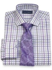 2-Ply Cotton Grid Cutaway Collar Trim Fit Dress Shirt