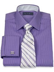 2-Ply Cotton Satin Rope Spread Collar French Cuff Dress Shirt