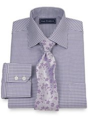 2-Ply Cotton Houndstooth Spread Collar Trim Fit Dress Shirt