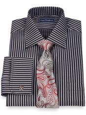 2-Ply Cotton Alternating Stripe Spread Collar French Cuff Dress Shirt