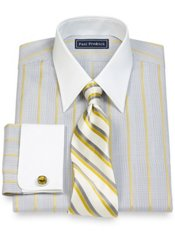 2-Ply Cotton Glen Plaid Straight Collar French Cuff Dress Shirt