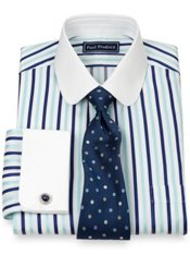 2-Ply Cotton Bold Satin Stripe Club Collar French Cuff Dress Shirt